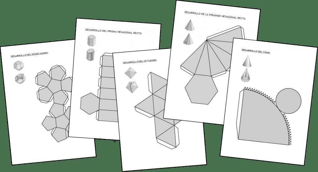 Desarrollos de cuerpos geom tricos for Sillas para armar y recortar