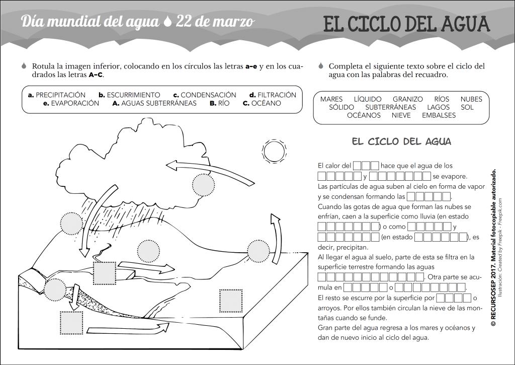 Dibujos Para Colorear Del Ciclo Del Agua Para Ninos: Día Mundial Del Agua (22/03). El Ciclo Del Agua