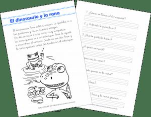 El dinosaurio y la rana – Comprensión Lectora (1.º de Primaria)