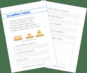La gallina Tutula – Comprensión Lectora (1.º de Primaria)