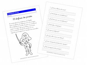 El disfraz de pirata – Comprensión Lectora (1.º de Primaria)