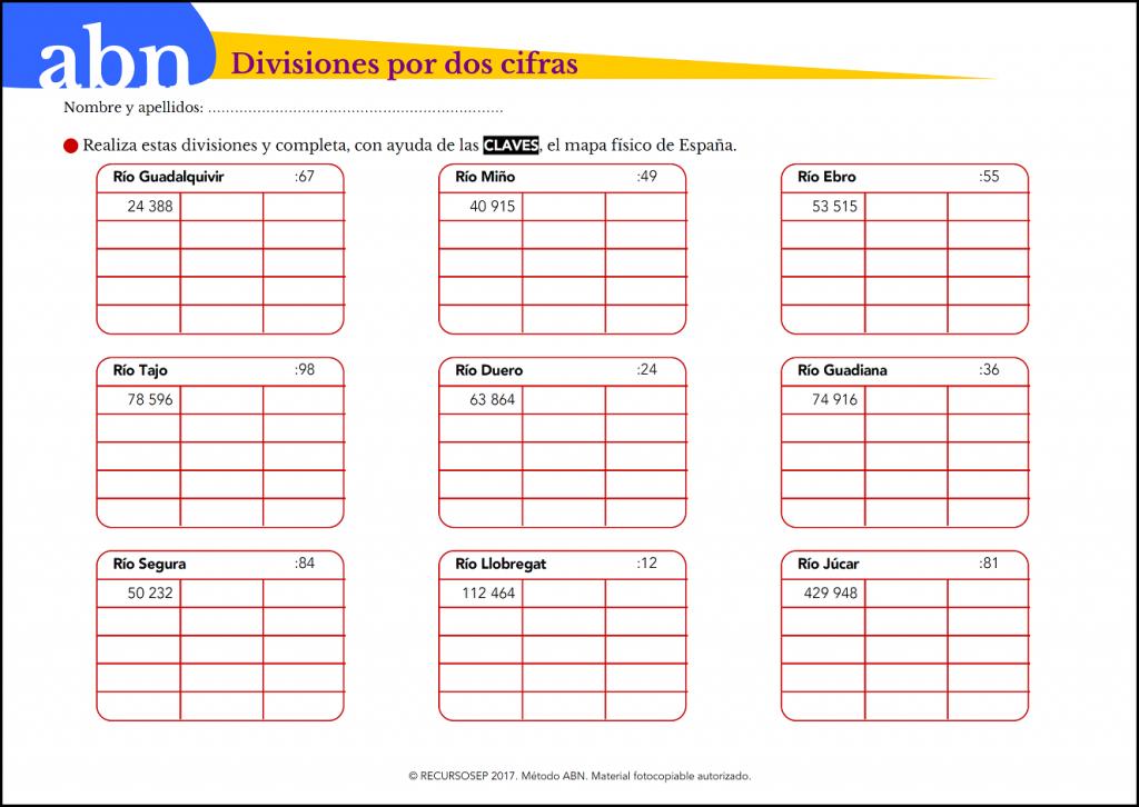 Divisiones por dos cifras y principales ríos de España (Método ABN ...