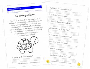 La tortuga Nana – Comprensión Lectora (1.º de Primaria)
