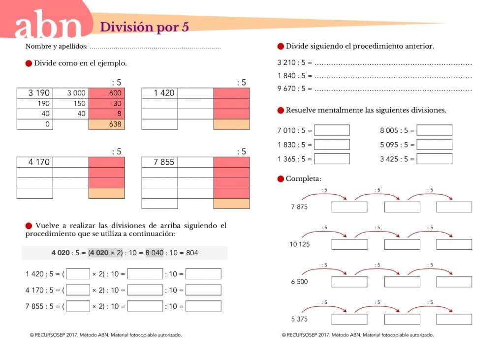 Método ABN. División por 5 (Estrategia de cálculo mental)