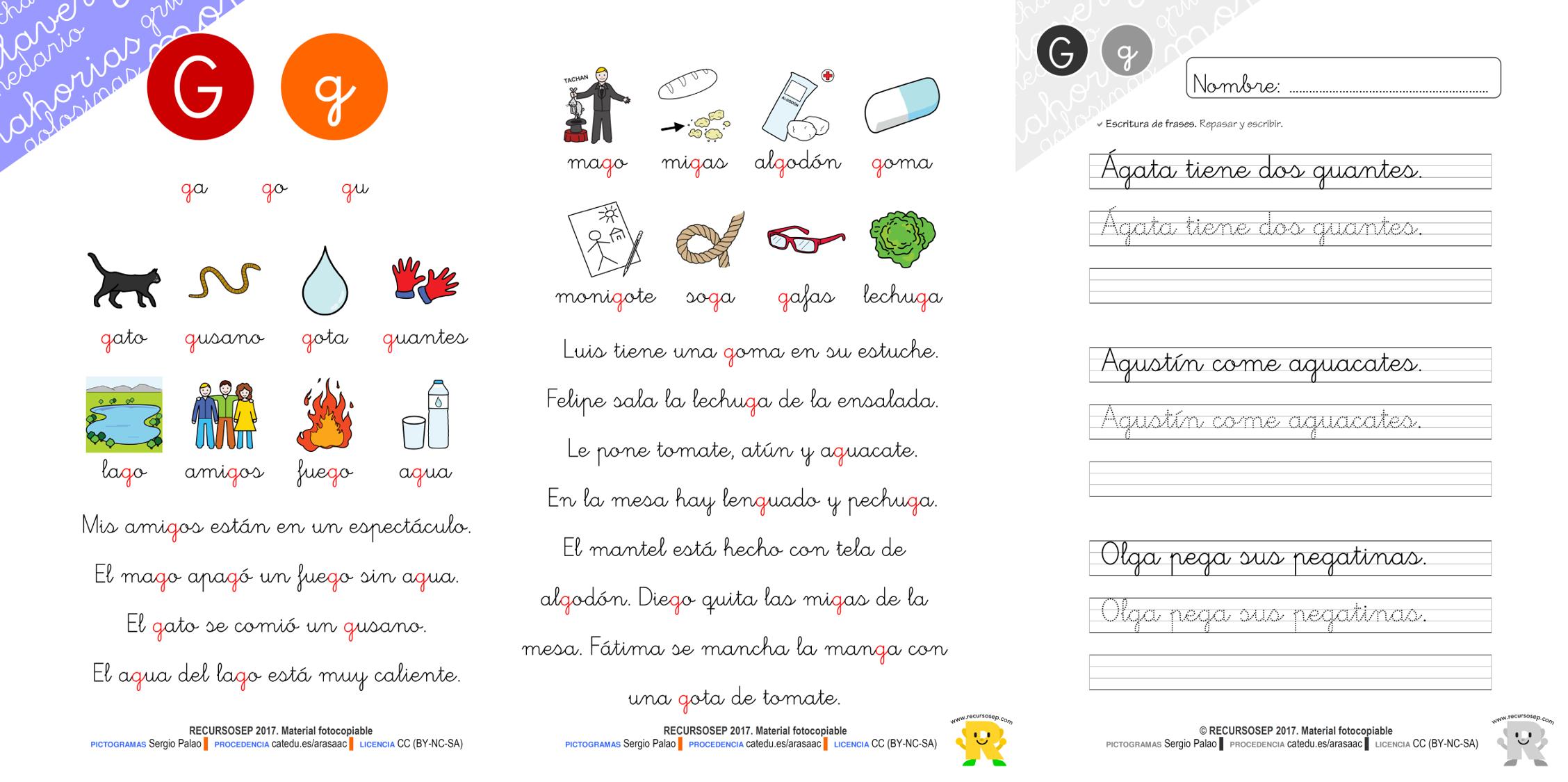 Cartilla para leer: letra G (recursos fotocopiables)