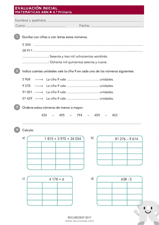 Evaluación Inicial 4.º de Primaria – MATEMÁTICAS ABN