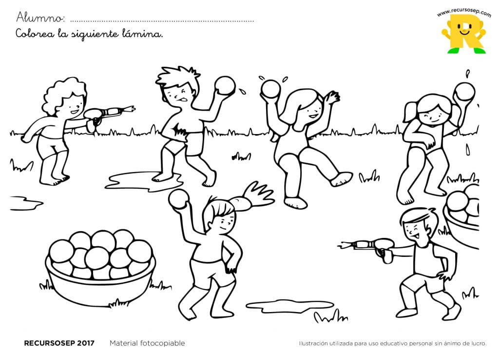 Láminas Para Colorear: Juegos Tradicionales