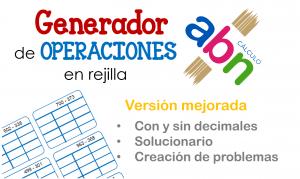 Generador de operaciones ABN en rejilla (con y sin decimales) con solucionario: creación de problemas