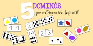 5 dominós descargables para Educación Infantil: números, formas y colores