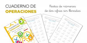 Cuaderno de operaciones: Restas de números de dos cifras sin llevadas