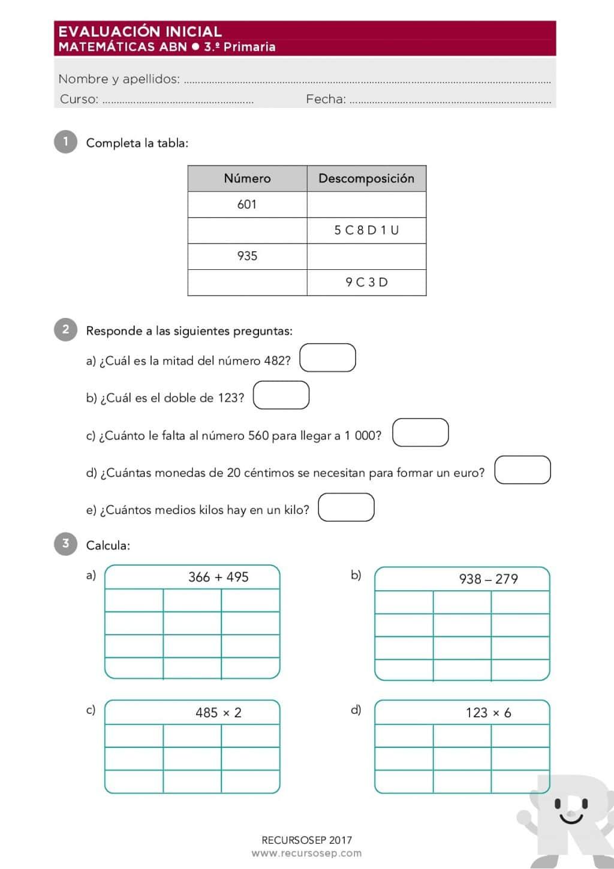 Evaluación Inicial 3.º de Primaria – MATEMÁTICAS ABN