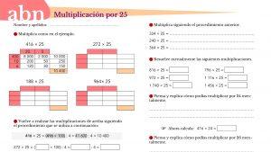 Método ABN. Multiplicación por 25 (Estrategia de cálculo mental)