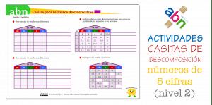 Método ABN. Ficha de descomposición de números de 5 cifras (con decimales)