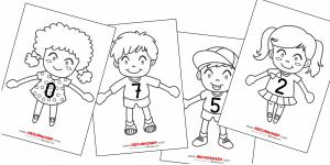 Amigos del 10: personajes con camisetas numeradas (LÁMINAS PARA COLOREAR)