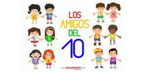 Amigos del 10: personajes con camisetas numeradas (JUEGO Y LÁMINAS)