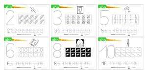 Fichas números 1-10: grafías, decicubos y patrones físicos