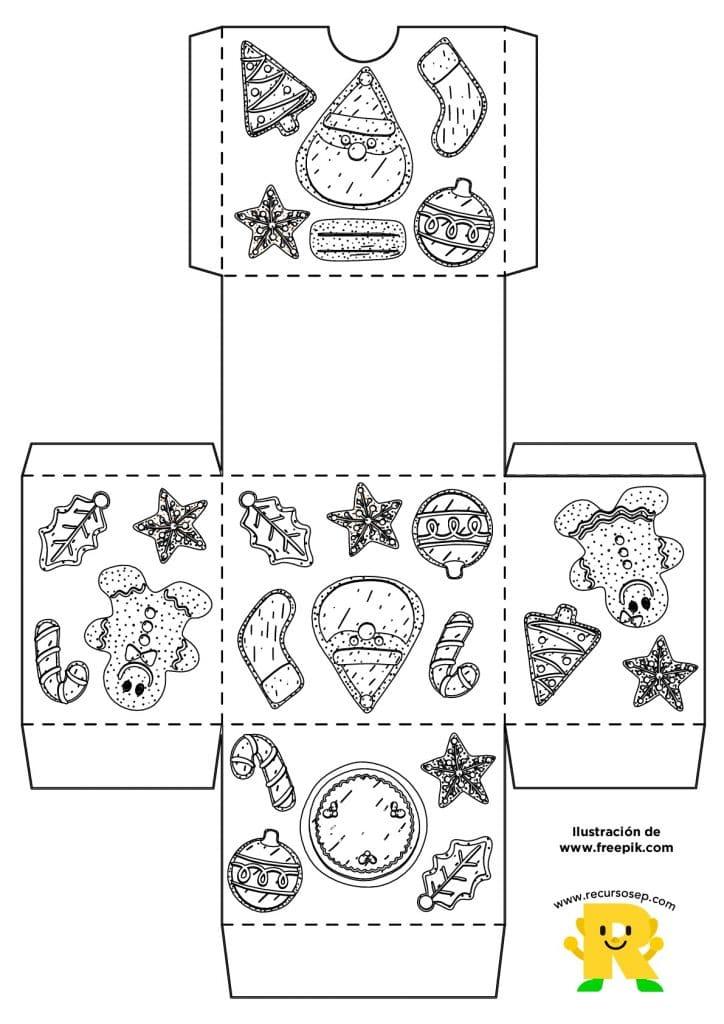 Recortable: Construye una caja para Navidad