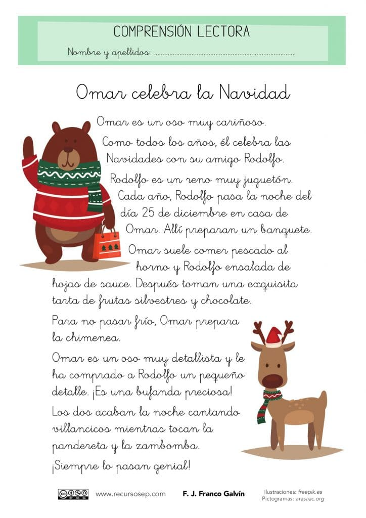 """Comprensión lectora: """"Omar celebra la Navidad"""" (Primer ciclo de ..."""