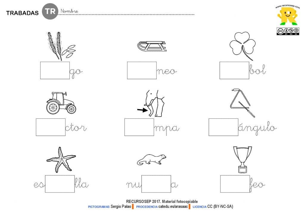 Dibujos Con La Trabada Br: Fichas Para Trabajar La Trabada TR