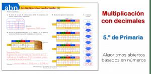 Multiplicación posicional con decimales y en rejilla (5.º de Primaria)