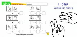 Método ABN. Ficha de sumas con manos