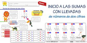 Introducción a la suma con llevadas (números de dos cifras)