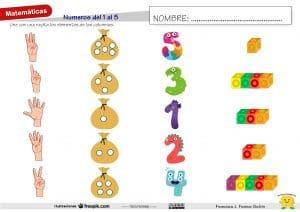 Números del 1 al 5: grafías, dedos, conteo y subitización